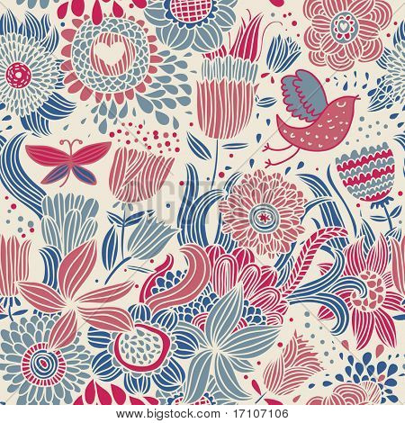 Floral seamless pattern with bird and butterfly in retro colors