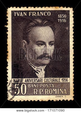 ROMANIA - CIRCA 1956: A stamp printed in Romania shows Iwan Franko (1856-1916) ukrainian writer, circa 1956