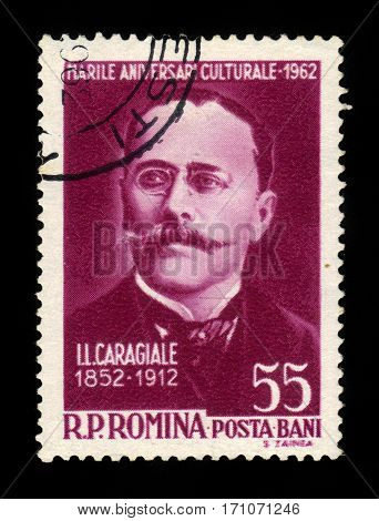 ROMANIA - CIRCA 1962: A stamp printed in Romania shows Ion Luca Caragiale (1852-1012) writer and dramaturg, circa 1962