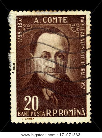 ROMANIA - CIRCA 1957: A stamp printed in Romania shows Auguste Comte, french philosopher, circa 1957