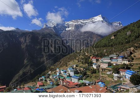 View from Namche Bazar village in the Everest National Park Nepal.