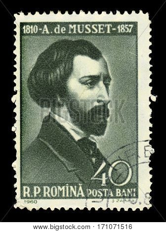 ROMANIA - CIRCA 1960: A stamp printed in Romania shows Alfred de Musset, french dramatist, poet, and novelist, circa 1960