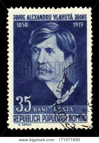 ROMANIA - CIRCA 1958: A stamp printed in Romania shows Alexandru Vlahuta, romanian writer, circa 1958