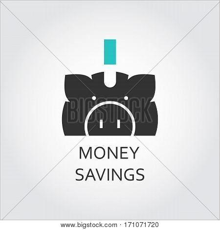 Flat vector icon of money saving as piggy-bank. Economy concept. Simple logo for websites, mobile apps and other design needs. Vector contour graphics
