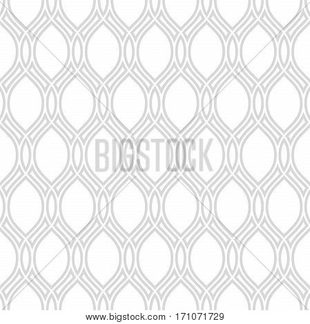 Seamless ornament. Modern geometric pattern with repeating light silver wavy lines
