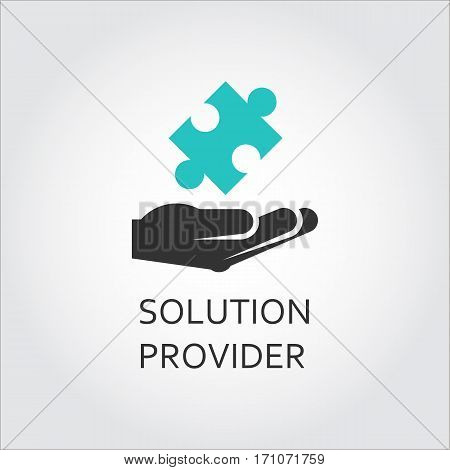 Label of hand giving puzzle, solution provider or innovation concept. Simple icon. Logo drawn in flat style. Black and green shape pictograph for your design needs. Vector contour silhouette