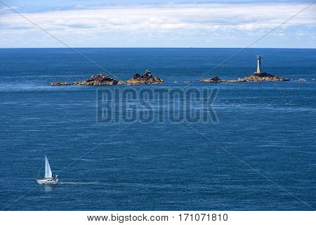 seascape at Land's End, Penwith Peninsula, Cornwall, England, most westerly point of England on the Penwith peninsula eight miles from Penzance on the Cornish coast