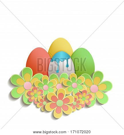 Easter Eggs with color flowers colors
