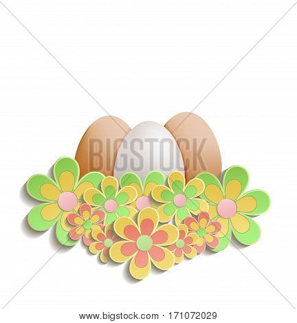 Easter Eggs with flowers blooming