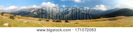 Panoramic mountain view from romanian Carpathi Retezat mountains Romania
