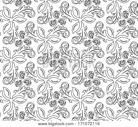 Floral ornament with black outline. Seamless abstract classic pattern with flowers