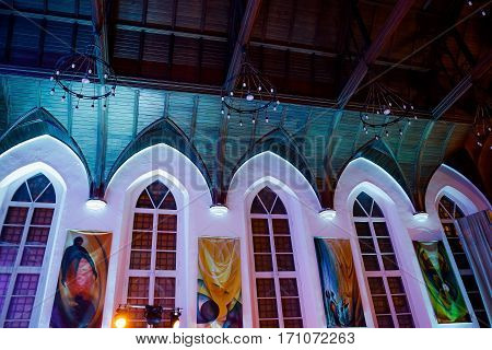 MOSCOW RUSSIA - JANUARY 27 2017: Interior view of historic St. Andrews Anglican Church in Voznesensky pereulok 8 Moscow Russia. This church was built in 1882-1884 years.