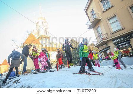 Kids Skiing In Zagreb