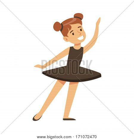 Little Girl In Black Tutu Dancing Ballet In Classic Dance Class, Future Professional Ballerina Dancer. Small Happy Kid And Adorable Stage Performance Vector Illustration.