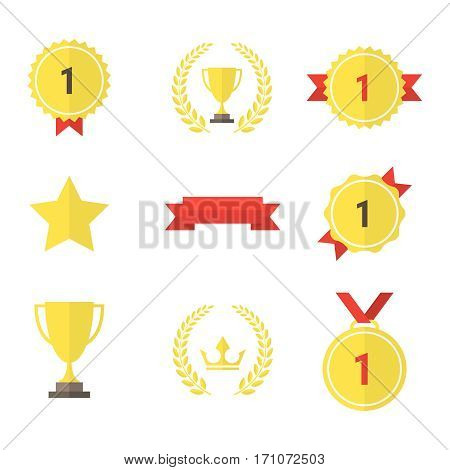 Set of gold award icons. Vector illustration eps 10
