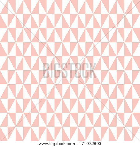 Geometric pattern with pink and white triangles. Seamless abstract background