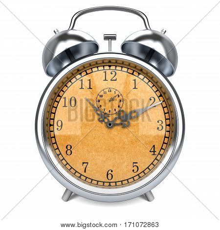 alarm clock 3d  time, morning, antiquarian, white,