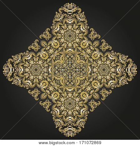 Elegant ornament in the style of barogue. Abstract traditional pattern with oriental elements. Black and golden pattern