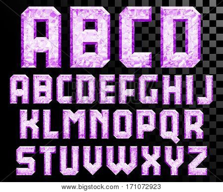 Shiny diamond alphabet letters set uppercase - eps10