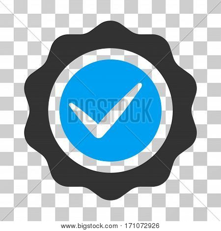 Valid Seal icon. Vector illustration style is flat iconic bicolor symbol blue and gray colors transparent background. Designed for web and software interfaces.