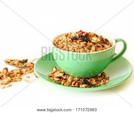 Berries granola - flakes of buckwheat, barley, rye and wheat, oatmeal, walnuts, pumpkin, sunflower sesame seeds, flax, cinnamon, sea salt, grape oil, syrup corn, cranberries, cowberries, cherries.