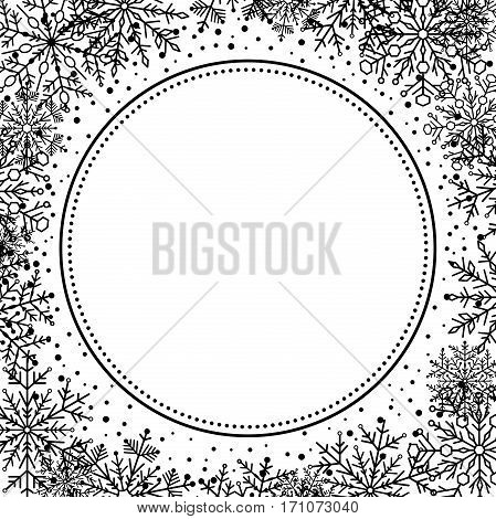 Winter frame with arabesques and snowflakes. Fine greeting card. Black and white pattern