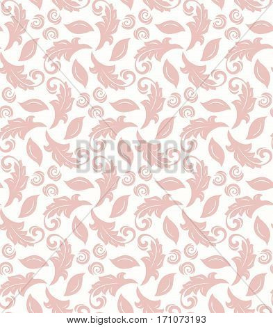 Floral ornament. Seamless abstract classic pattern with flowers. Light pink and white pattern