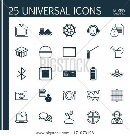 Set Of 25 Universal Editable Icons. Can Be Used For Web, Mobile And App Design. Includes Elements Such As Sprout, Speaking, Digital Camera And More.