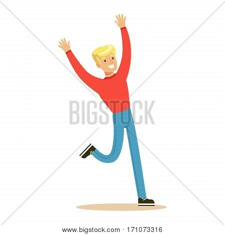 Blond Guy In Red Sweater Overwhelmed With Happiness And Joyfully Ecstatic, Happy Smiling Cartoon Character. Person Excited And Blissful With Positive Emotions Vector Illustration.