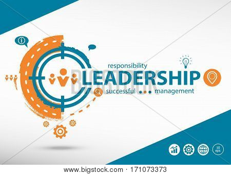 Leadership Word Cloud And Marketing Concept On Target Icon Background.