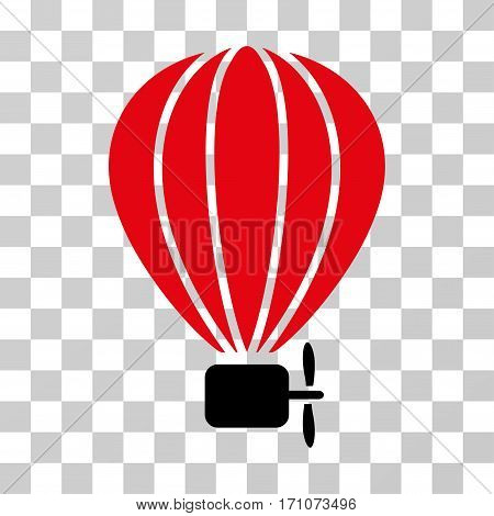 Aerostat Balloon icon. Vector illustration style is flat iconic bicolor symbol intensive red and black colors transparent background. Designed for web and software interfaces.