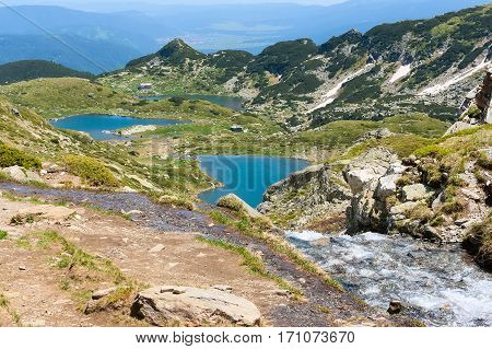 Aerial veiw mountain landscape with Seven Rila Lakes and hut in National Park Rila, Bulgaria