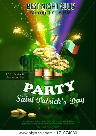Saint Patricks Day Invitation Card Design with Leprechaun hat filled up with gold on Blurred Green Background and Rainbow Happy St Patricks Day. Vector Illustration.