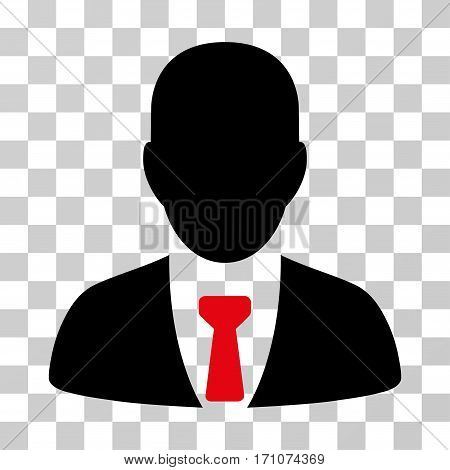 Businessman icon. Vector illustration style is flat iconic bicolor symbol intensive red and black colors transparent background. Designed for web and software interfaces.
