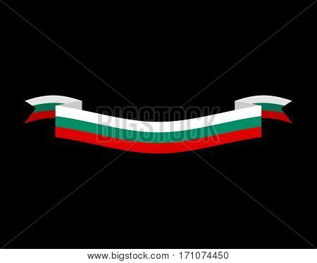 Bulgaria Flag Ribbon Isolated. Bulgarian Tape Banner. National Symbol Of Countrys Public