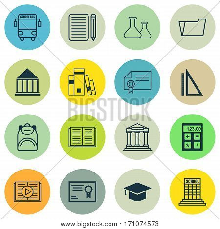 Set Of 16 School Icons. Includes Measurement, Diploma, Library And Other Symbols. Beautiful Design Elements.