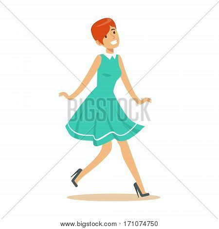 Girl In Blue Dress Overwhelmed With Happiness And Joyfully Ecstatic, Happy Smiling Cartoon Character. Person Excited And Blissful With Positive Emotions Vector Illustration.