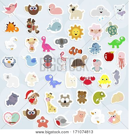 great collection of cute children's labels. many baby stripes and labels. there are animals birds marine life. the template for the scrapbook. vector illustration. baby shower or arrival