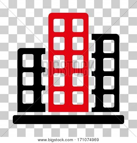 City icon. Vector illustration style is flat iconic bicolor symbol intensive red and black colors transparent background. Designed for web and software interfaces.