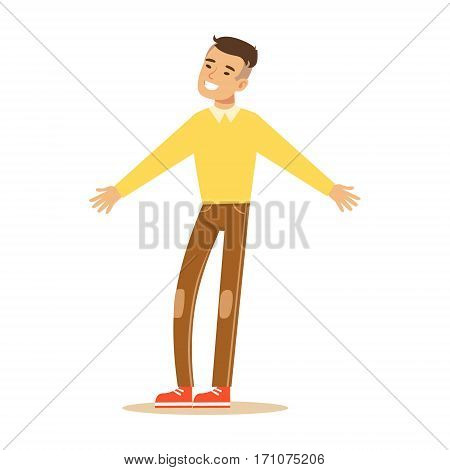 Ma In Yellow Sweater Overwhelmed With Happiness And Joyfully Ecstatic, Happy Smiling Cartoon Character