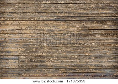 Backgrounds of brown boards with traces of wear and tear of time and weather. Part of the wall of the old house. Boards placed horizontally.