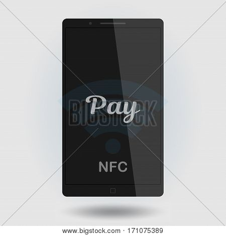 Nfc payment vector illustration. Mobile payment trough POS. Making wireless transactions. Smart phone concept icon.