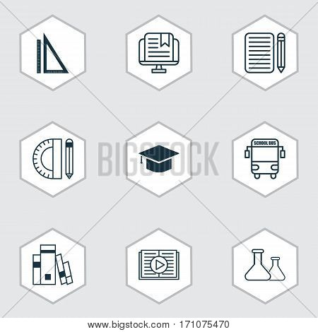 Set Of 9 Education Icons. Includes Taped Book, Chemical, Transport Vehicle And Other Symbols. Beautiful Design Elements.