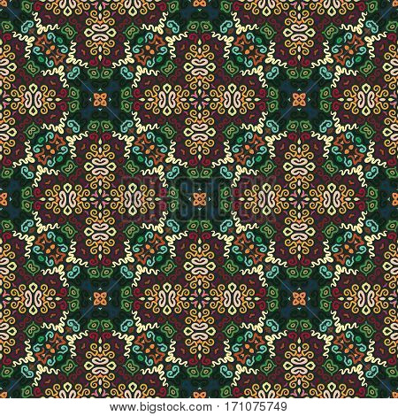 Floral Seamless Pattern. Colorful weave stylized flower background. Green brown flourish ornament vector. Intricate luxury decoration. Furniture fabric print, wallpaper. Interior design element.