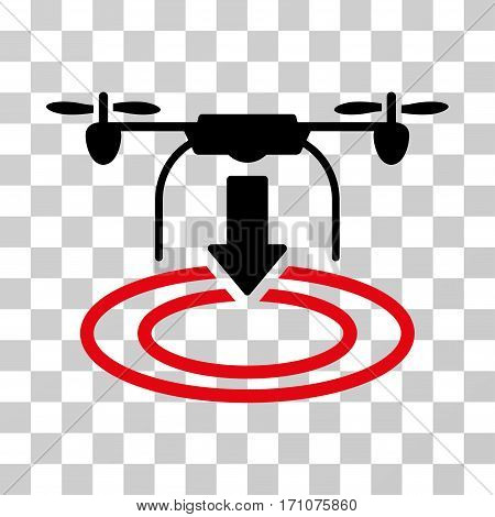 Drone Landing icon. Vector illustration style is flat iconic bicolor symbol intensive red and black colors transparent background. Designed for web and software interfaces.