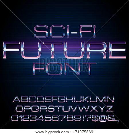 Sci-Fi Future Style Metal Techno Vector Font typeface set