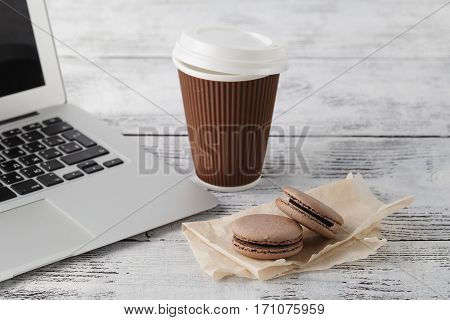Breakfast At Workplace. Coffee And Chocolate Macaroons