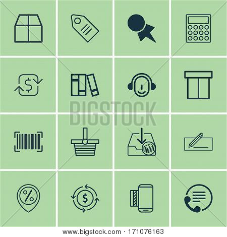 Set Of 16 Ecommerce Icons. Includes Employee, Cardboard, Finance And Other Symbols. Beautiful Design Elements.