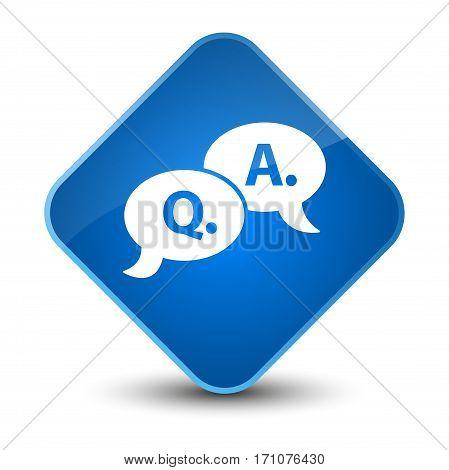 Question Answer Bubble Icon Special Blue Diamond Button