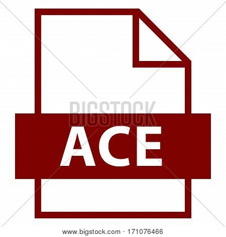 Use it in all your designs. Filename extension icon ACE compression file format in flat style. Quick and easy recolorable shape. Vector illustration a graphic element.